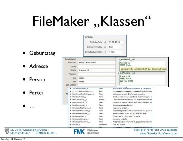 """FileMaker """"Klassen""""                    •     Geburtstag                    •     Adresse                    •     Person  ..."""