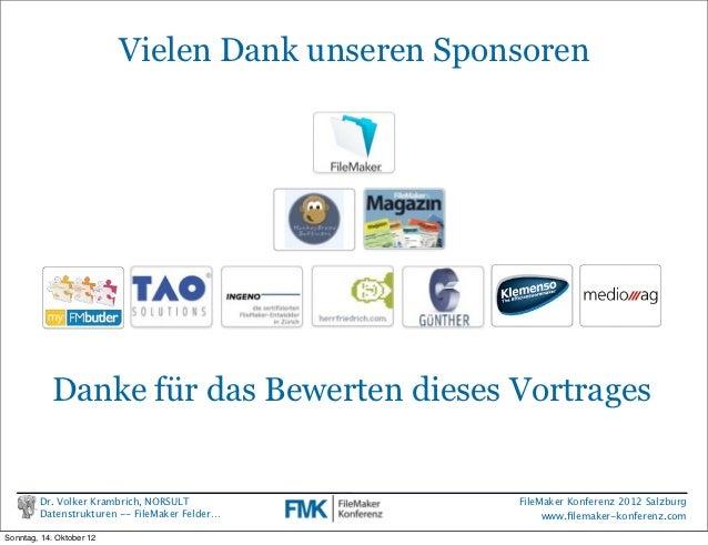 FileMaker Konferenz2010                          Vielen Dank unseren Sponsoren           Danke für das Bewerten dieses Vor...