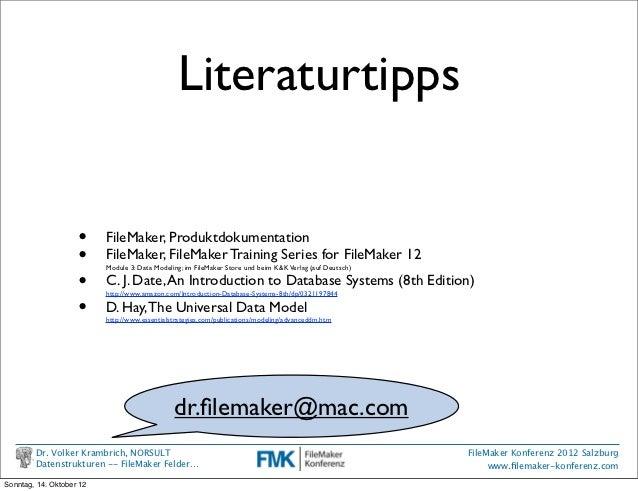 Literaturtipps                    •     FileMaker, Produktdokumentation                    •     FileMaker, FileMaker Trai...