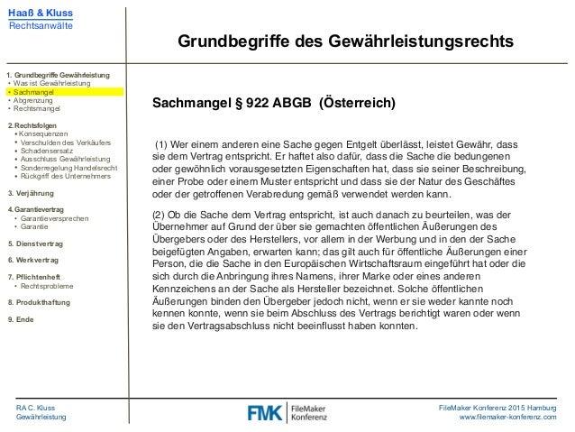 Fmk2015 Gewährleistungsrecht Und Haftung By Christoph Kluss