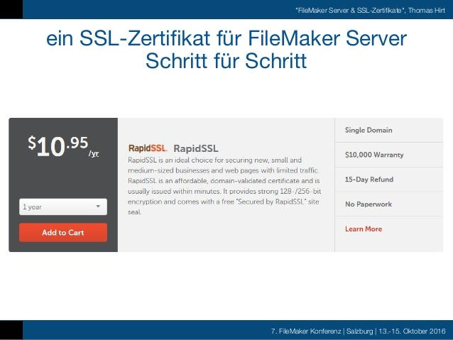 FMK 2016 - Thomas Hirt - FileMaker Server SSL Zertifikate