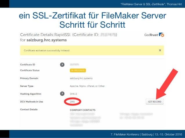 FMK 2016 - Thomas Hirt - FileMaker Server SSL Zertifikate