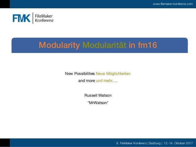 8. FileMaker Konferenz | Salzburg | 12.-14. Oktober 2017 www.filemaker-konferenz.com New Possibilities Neue Möglichkeiten ...