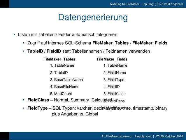 9. FileMaker Konferenz | Liechtenstein | 17.-20. Oktober 2018 AuditLog für FileMaker – Dipl.-Ing. (FH) Arnold Kegebein Dat...