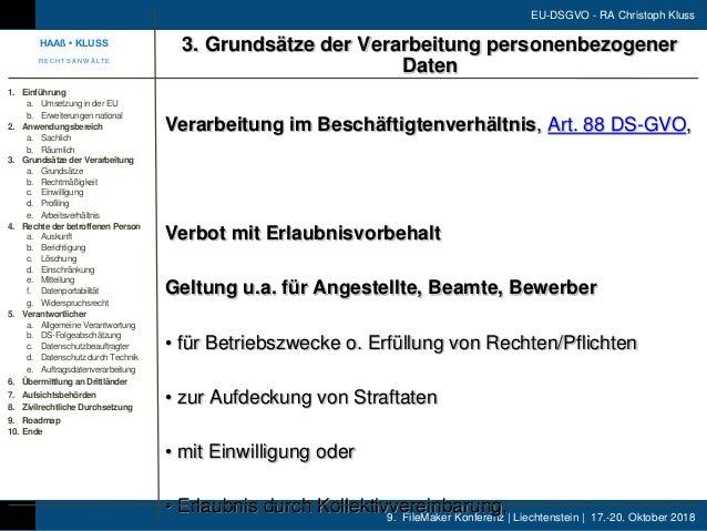 9. FileMaker Konferenz | Liechtenstein | 17.-20. Oktober 2018 EU-DSGVO - RA Christoph Kluss Verarbeitung im Beschäftigtenv...