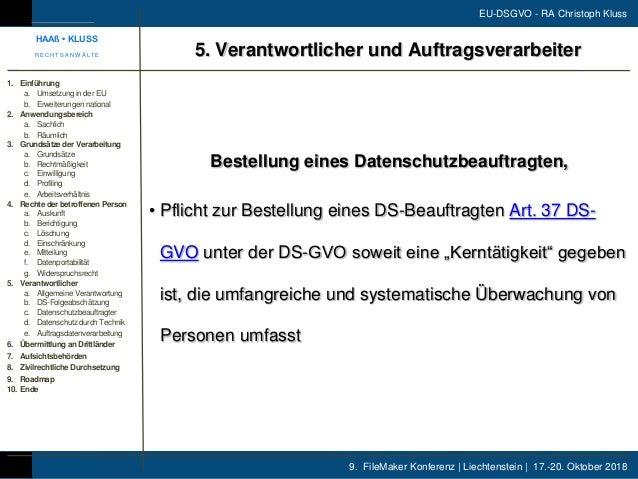 9. FileMaker Konferenz | Liechtenstein | 17.-20. Oktober 2018 EU-DSGVO - RA Christoph Kluss Bestellung eines Datenschutzbe...
