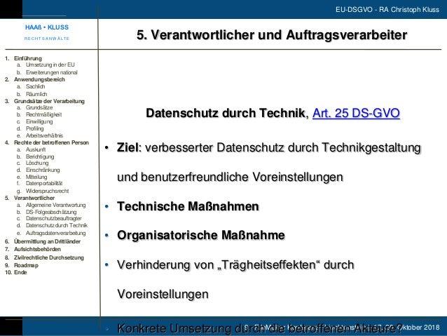 9. FileMaker Konferenz | Liechtenstein | 17.-20. Oktober 2018 EU-DSGVO - RA Christoph Kluss Datenschutz durch Technik, Art...