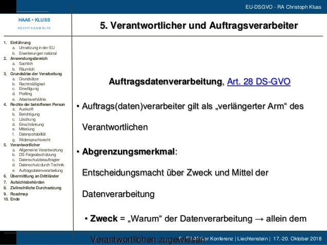 9. FileMaker Konferenz | Liechtenstein | 17.-20. Oktober 2018 EU-DSGVO - RA Christoph Kluss Auftragsdatenverarbeitung, Art...