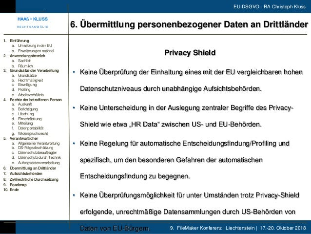 9. FileMaker Konferenz | Liechtenstein | 17.-20. Oktober 2018 EU-DSGVO - RA Christoph Kluss Privacy Shield • Keine Überprü...
