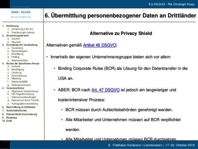 9. FileMaker Konferenz | Liechtenstein | 17.-20. Oktober 2018 EU-DSGVO - RA Christoph Kluss Alternative zu Privacy Shield ...