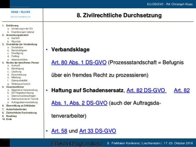 9. FileMaker Konferenz | Liechtenstein | 17.-20. Oktober 2018 EU-DSGVO - RA Christoph Kluss • Verbandsklage Art. 80 Abs. 1...