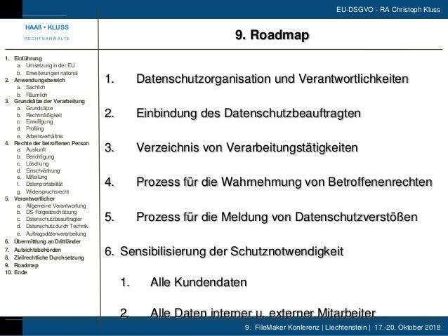 9. FileMaker Konferenz | Liechtenstein | 17.-20. Oktober 2018 EU-DSGVO - RA Christoph Kluss 1. Datenschutzorganisation und...