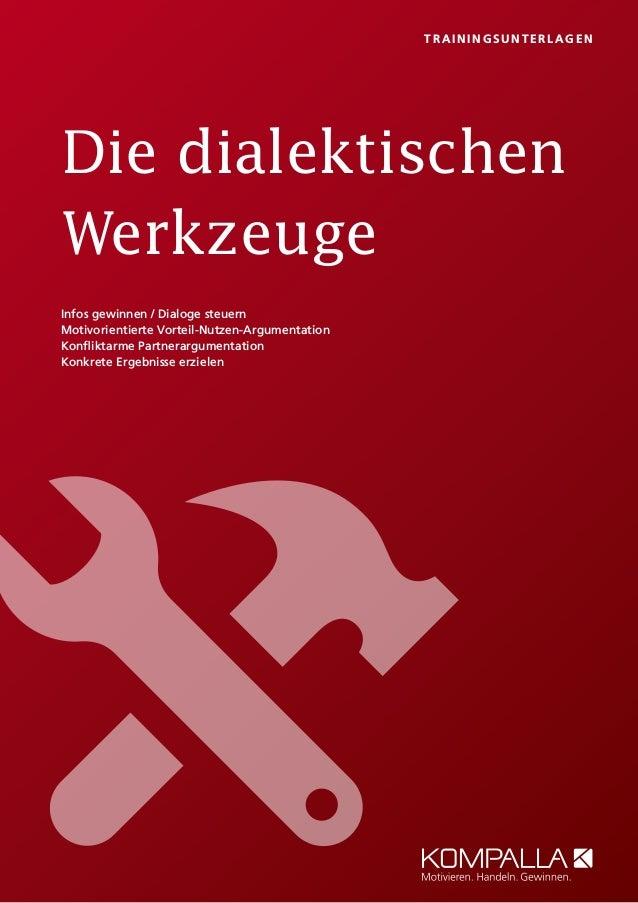 Die dialektischen Werkzeuge T RAI NI NGS UNT E RLAGEN Infos gewinnen / Dialoge steuern Motivorientierte Vorteil-Nutzen-Arg...