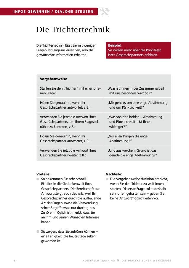 6 KOMPALLA T R AINING DIE DIALE KT IS C HE N WE R KZEUGE INFOS GEWINNEN / DIALOGE STEUE RN Die Trichtertechnik Die Trichte...
