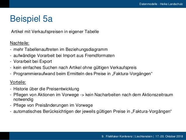 9. FileMaker Konferenz   Liechtenstein   17.-20. Oktober 2018 Datenmodelle - Heike Landschulz Beispiel 5a Artikel mit Verk...