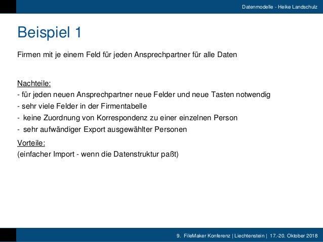 9. FileMaker Konferenz   Liechtenstein   17.-20. Oktober 2018 Datenmodelle - Heike Landschulz Beispiel 1 Firmen mit je ein...