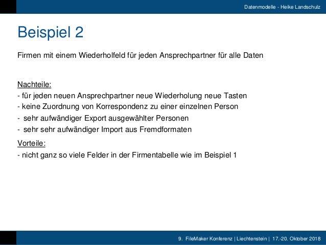 9. FileMaker Konferenz   Liechtenstein   17.-20. Oktober 2018 Datenmodelle - Heike Landschulz Beispiel 2 Firmen mit einem ...