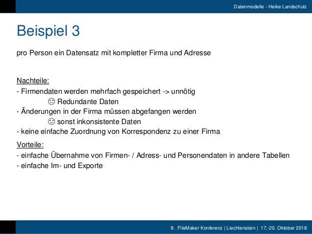 9. FileMaker Konferenz   Liechtenstein   17.-20. Oktober 2018 Datenmodelle - Heike Landschulz Beispiel 3 pro Person ein Da...