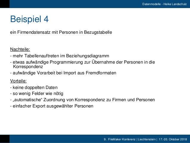 9. FileMaker Konferenz   Liechtenstein   17.-20. Oktober 2018 Datenmodelle - Heike Landschulz Beispiel 4 ein Firmendatensa...