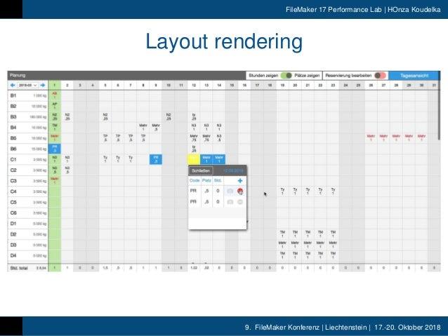 9. FileMaker Konferenz | Liechtenstein | 17.-20. Oktober 2018 FileMaker 17 Performance Lab | HOnza Koudelka Layout renderi...