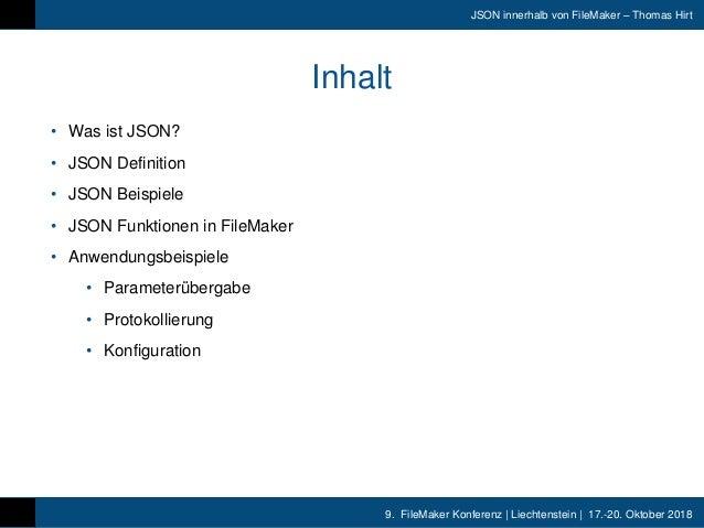 FMK2018- JSON Innerhalb FileMaker Thomas Hirt Slide 3