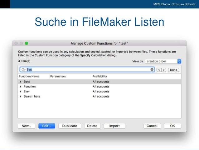 9. FileMaker Konferenz | Liechtenstein | 17.-20. Oktober 2018 MBS Plugin, Christian Schmitz Suche in FileMaker Listen