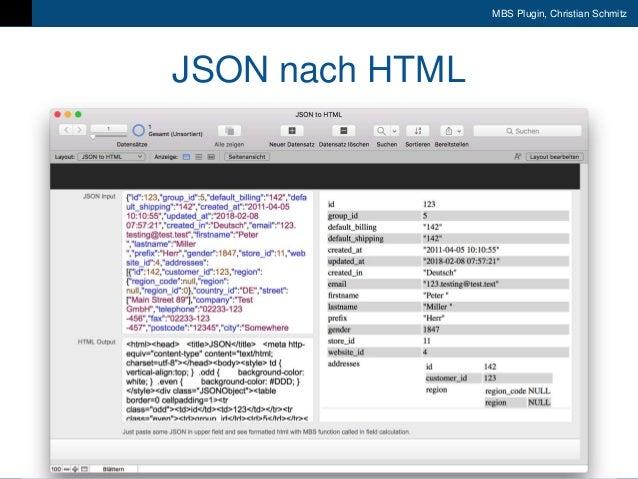 9. FileMaker Konferenz | Liechtenstein | 17.-20. Oktober 2018 MBS Plugin, Christian Schmitz JSON nach HTML