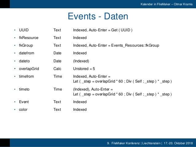 9. FileMaker Konferenz | Liechtenstein | 17.-20. Oktober 2018 Kalender in FileMaker – Otmar Kramis Events - Daten • UUID T...