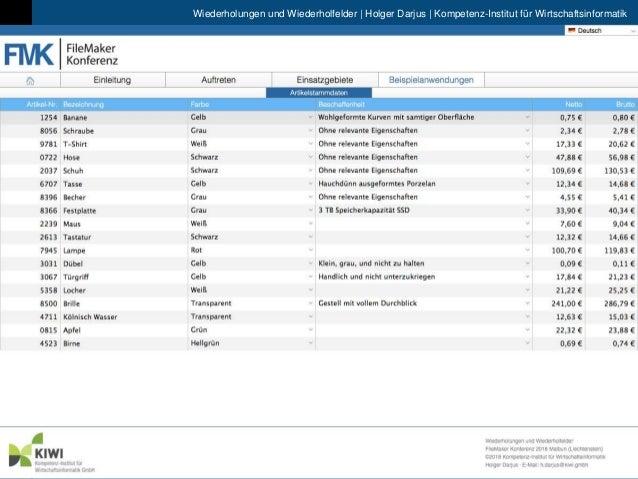 Wiederholungen und Wiederholfelder | Holger Darjus | Kompetenz-Institut f�r Wirtschaftsinformatik 9. FileMaker Konferenz |...