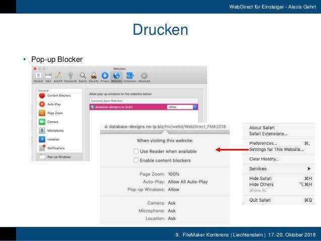 9. FileMaker Konferenz   Liechtenstein   17.-20. Oktober 2018 WebDirect für Einsteiger - Alexis Gehrt Drucken • Pop-up Bl...