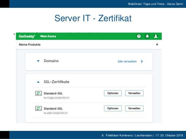 9. FileMaker Konferenz | Liechtenstein | 17.-20. Oktober 2018 WebDirect Tipps und Tricks - Alexis Gehrt Server IT - Zertif...