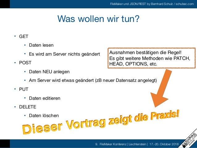 FileMaker und JSON/REST by Bernhard Schulz / schubec.com 9. FileMaker Konferenz   Liechtenstein   17.-20. Oktober 2018 Was...