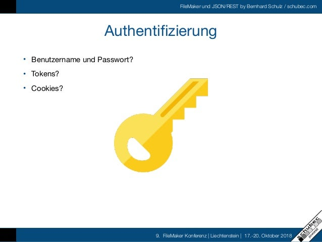 FileMaker und JSON/REST by Bernhard Schulz / schubec.com 9. FileMaker Konferenz   Liechtenstein   17.-20. Oktober 2018 Aut...