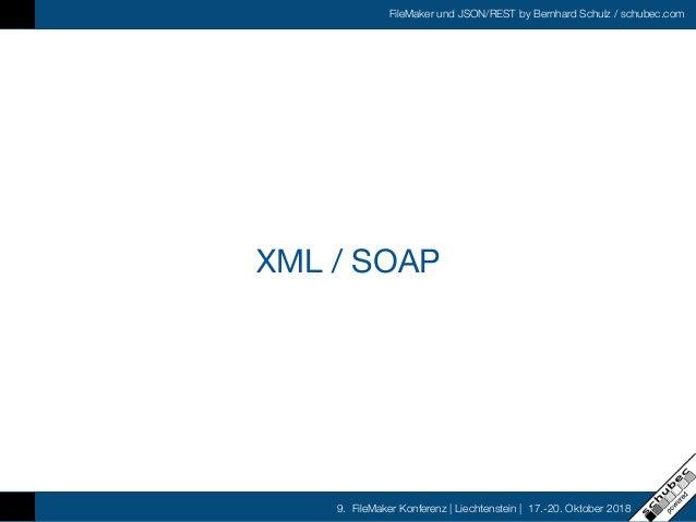 FileMaker und JSON/REST by Bernhard Schulz / schubec.com 9. FileMaker Konferenz   Liechtenstein   17.-20. Oktober 2018 XML...
