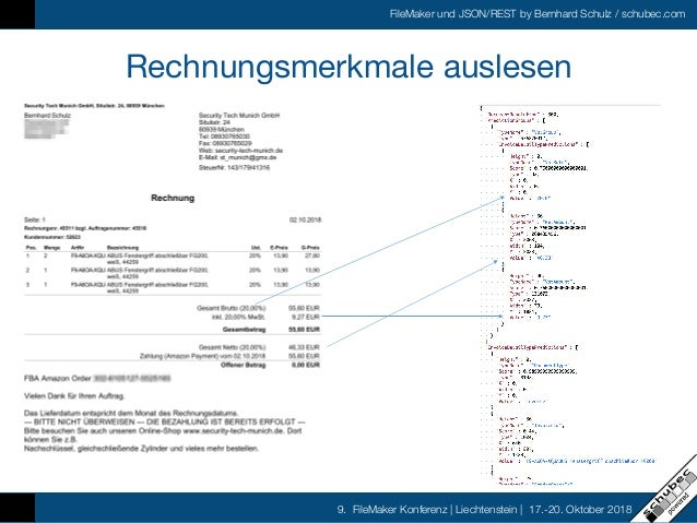 FileMaker und JSON/REST by Bernhard Schulz / schubec.com 9. FileMaker Konferenz   Liechtenstein   17.-20. Oktober 2018 Rec...