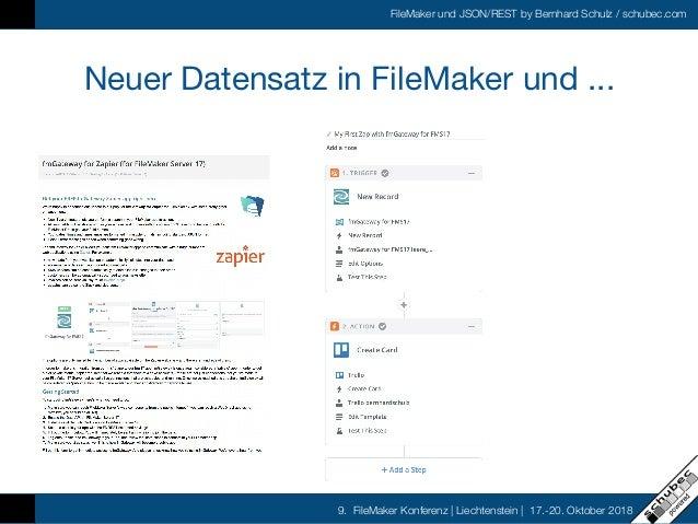 FileMaker und JSON/REST by Bernhard Schulz / schubec.com 9. FileMaker Konferenz   Liechtenstein   17.-20. Oktober 2018 Neu...