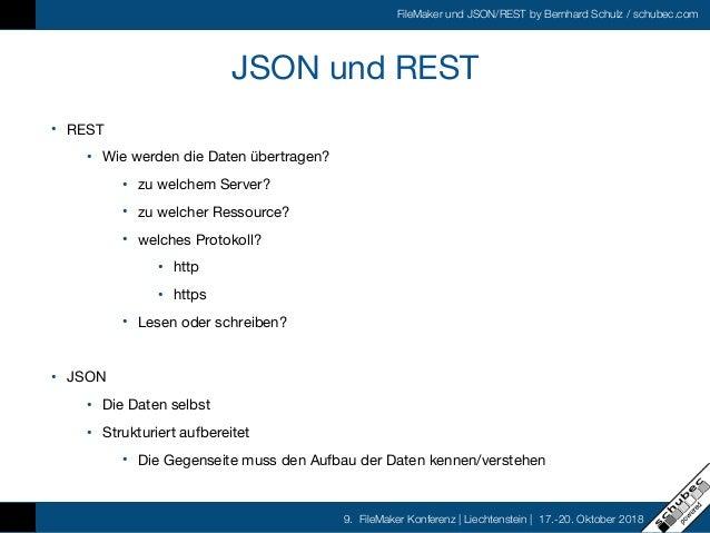 FileMaker und JSON/REST by Bernhard Schulz / schubec.com 9. FileMaker Konferenz   Liechtenstein   17.-20. Oktober 2018 JSO...