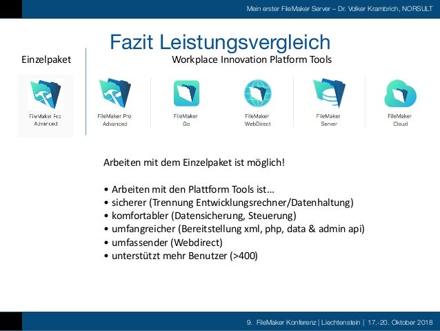 9. FileMaker Konferenz   Liechtenstein   17.-20. Oktober 2018 Mein erster FileMaker Server – Dr. Volker Krambrich, NORSULT...