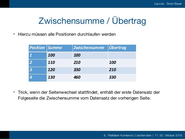 9. FileMaker Konferenz   Liechtenstein   17.-20. Oktober 2018 Layouts - Swen Bauer Zwischensumme / Übertrag • Hierzu müsse...