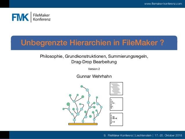 9. FileMaker Konferenz | Liechtenstein | 17.-20. Oktober 2018 www.filemaker-konferenz.com Philosophie, Grundkonstruktionen...