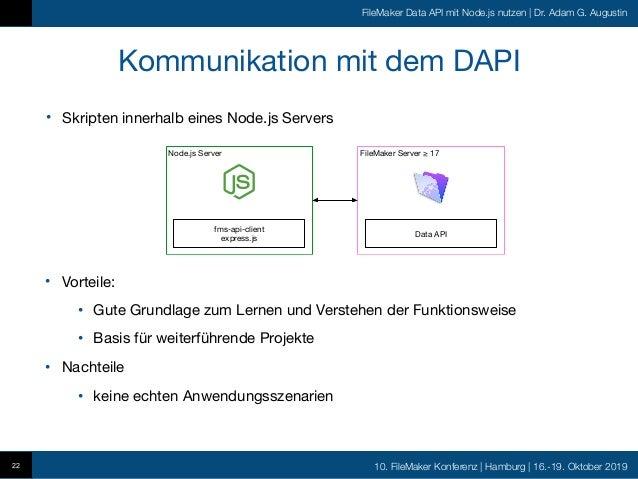 10. FileMaker Konferenz   Hamburg   16.-19. Oktober 2019 FileMaker Data API mit Node.js nutzen   Dr. Adam G. Augustin • Sk...