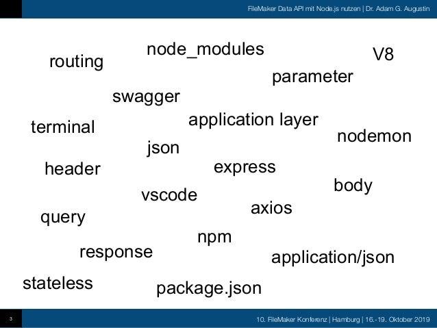 10. FileMaker Konferenz   Hamburg   16.-19. Oktober 2019 FileMaker Data API mit Node.js nutzen   Dr. Adam G. Augustin 3 sw...