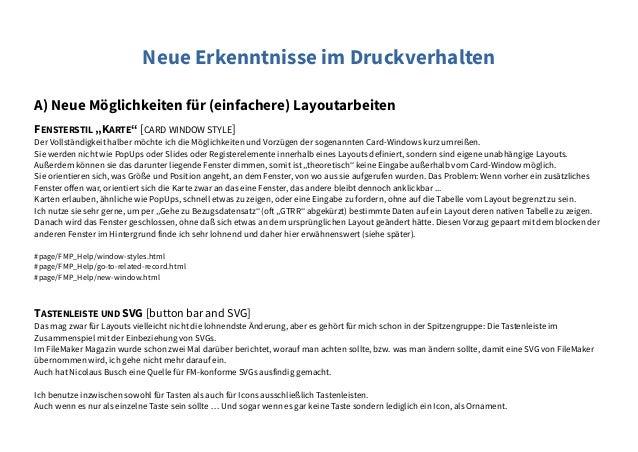 """Neue Erkenntnisse im Druckverhalten A) Neue Möglichkeiten für (einfachere) Layoutarbeiten FENSTERSTIL """"KARTE"""" [CARD WINDOW..."""