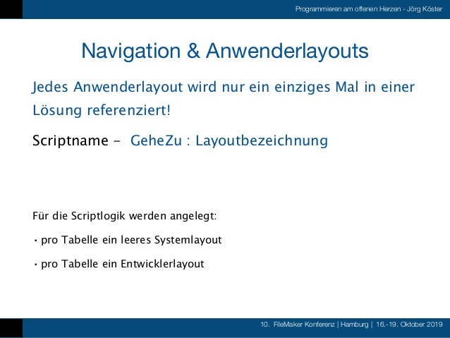 10. FileMaker Konferenz   Hamburg   16.-19. Oktober 2019 Programmieren am offenen Herzen - Jörg Köster Navigation & Anwend...