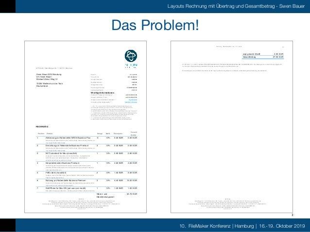 FMK2019 Layout Rechnungsdruck mit Übertrag und Gesamtbetrag by Swen Bauer Slide 3