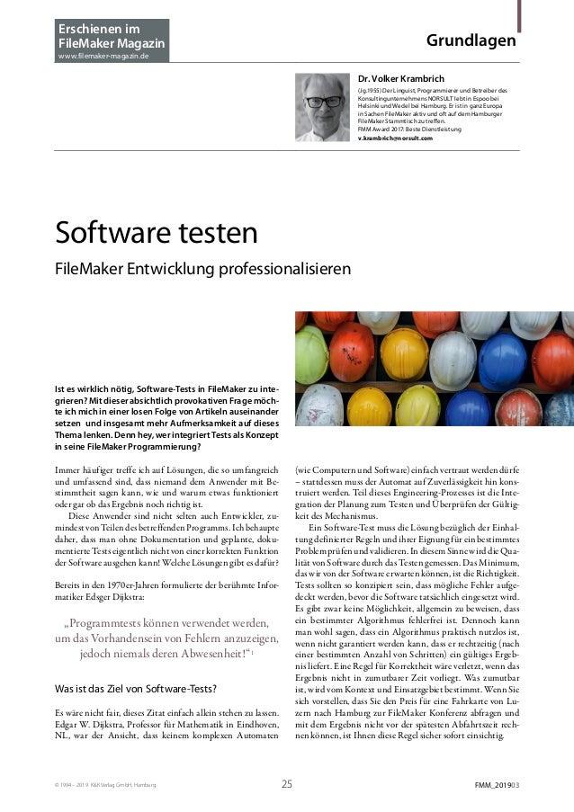 © 1994 – 2019 K&K Verlag GmbH, Hamburg 25 FMM_201903 Grundlagen Dr. Volker Krambrich (Jg.1955) Der Linguist, Programmiere...