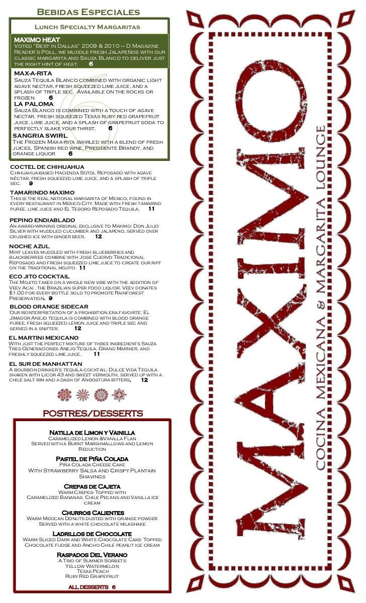 New Lunch Menu at Maximo
