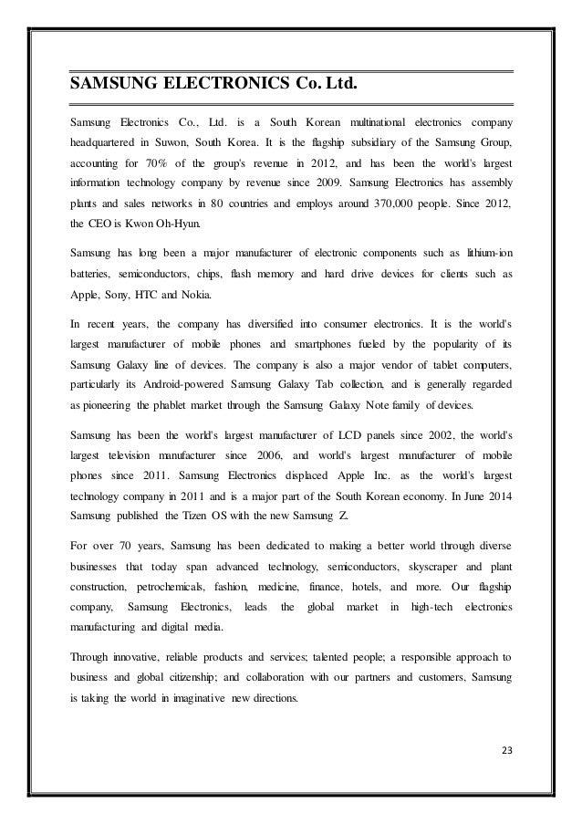 analysis of samsung electronics co ltd Samsung electronics co, ltd organizational development & change joseph rudderow april 8 conducted a swot analysis of samsung.