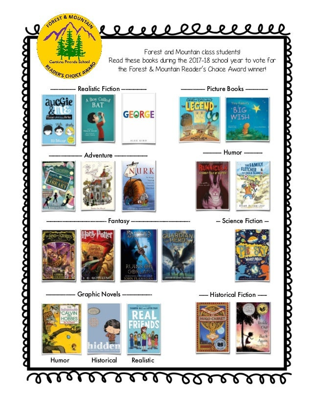 Forest and Mountain class students! Read these books during the 2017-18 school year to vote for the Forest & Mountain Read...