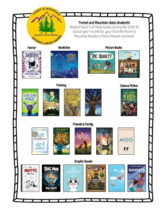 Forest and Mountain class students! Read at least 5 of these books during the 2018-19 school year to vote for your favorit...